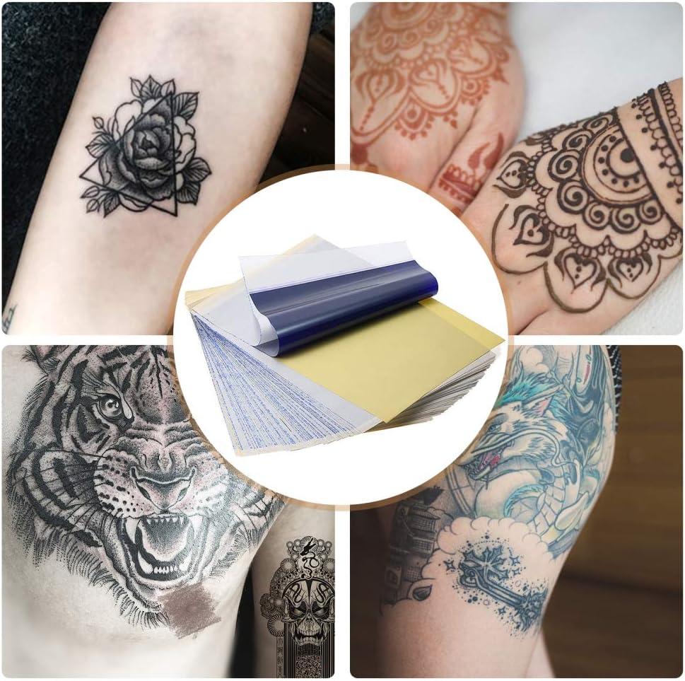 InLoveArts Lot de 100 feuilles de papier transfert thermique pour pochoir de tatouage 20 x 20 cm