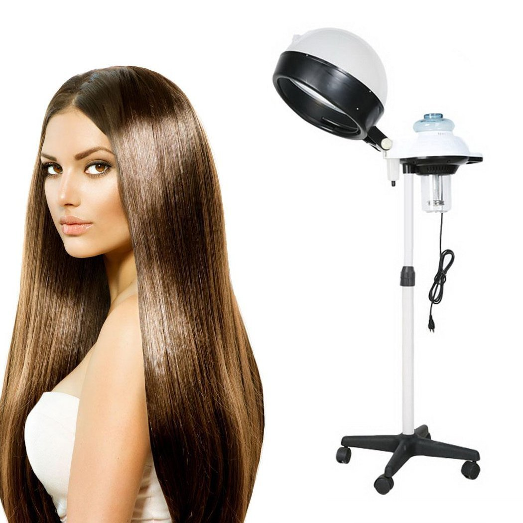 VividyAdjustable Salon Hair Steamer 110V with Rolling Stand Base, Professional Salon Stand up Hair Steamer for Hair Dry Roller