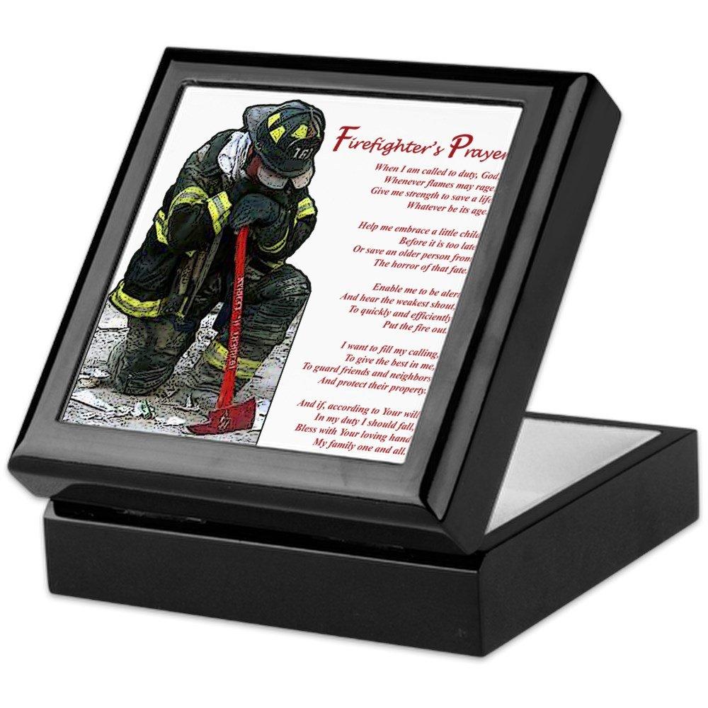 CafePress - Firefighter Prayer - Keepsake Box, Finished Hardwood Jewelry Box, Velvet Lined Memento Box