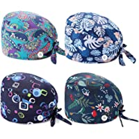 Goddess Aalto 4pcs Adjustable Working Cap with Button,Scrub Cap with Sweatband,Tie Back Working Hat Head Cover Turban…