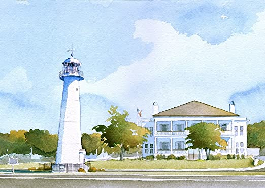 Amazon Com Biloxi Lighthouse Visitor Center Mississippi By James Mann Matted Watercolor Art Prints 5x7 Posters Prints