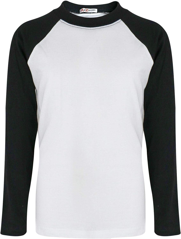New Childrens Kids Boys Long Full Sleeve Baseball T T-Shirt Tee Shirt Casual TOP