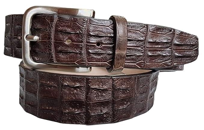l'atteggiamento migliore a8279 9e8c7 ESPERANTO Cintura coccodrillo schiena uomo e donna 4 cm,fodera vera pelle  cuoio nabuk artigianale 4 cm accorciabile-marrone scuro moro