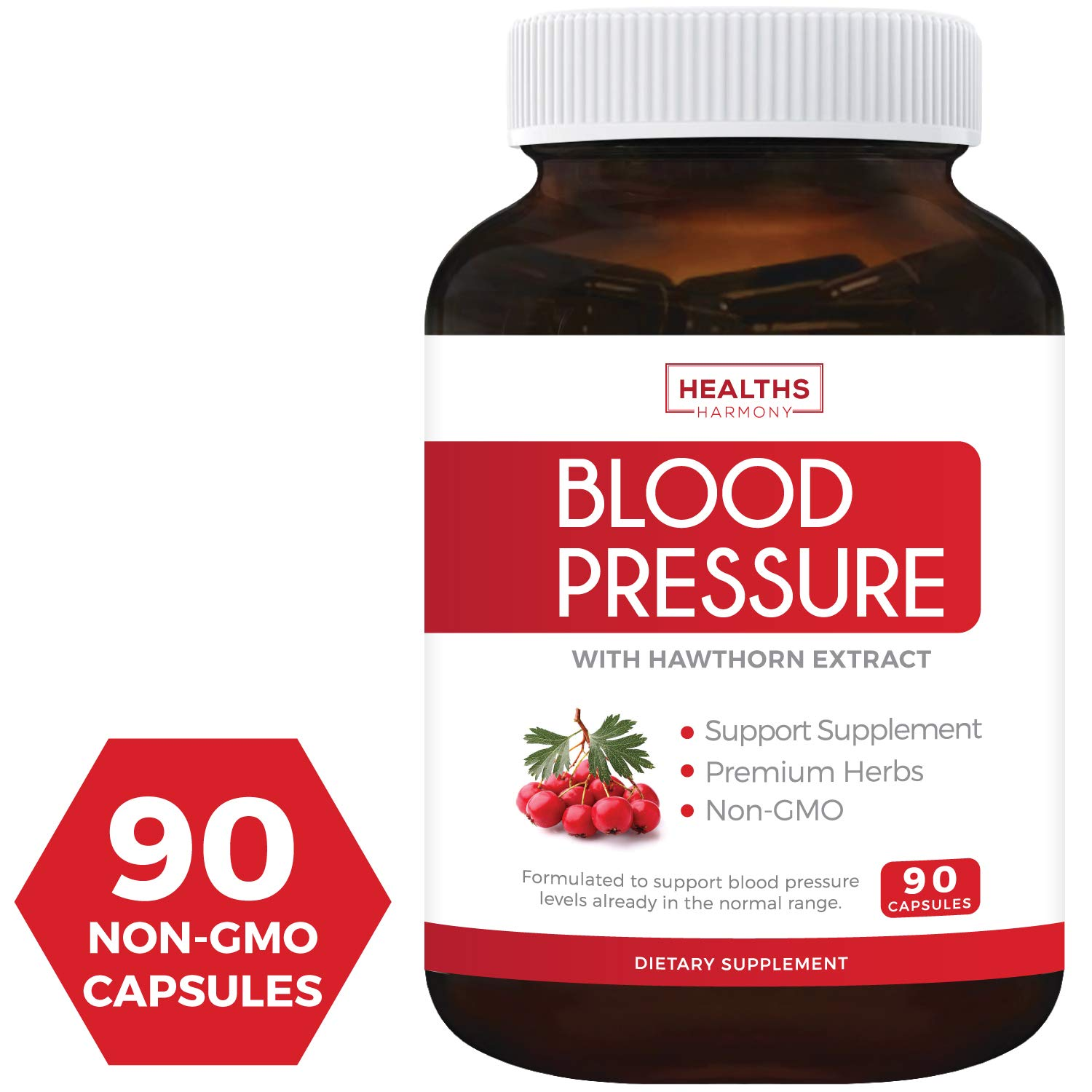 Best Blood Pressure Support Supplement (NON-GMO) - Premium Natural Herbs, Vitamins & Berries - High Dosage of Hawthorn Extract – Berry Lower Pills – 90 Capsules