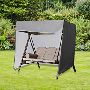 """SHANGXING Outdoor Patio Swing Covers- 86""""x 49""""x 66"""" Waterproof Garden Swing Hammock Glider Cover- Foldable Outdoor Garden Furniture Covers with Storage Bag (Black)"""