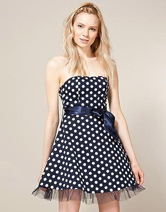AX Paris Polka Dot Prom Dress - Dark blue - Womens - 16