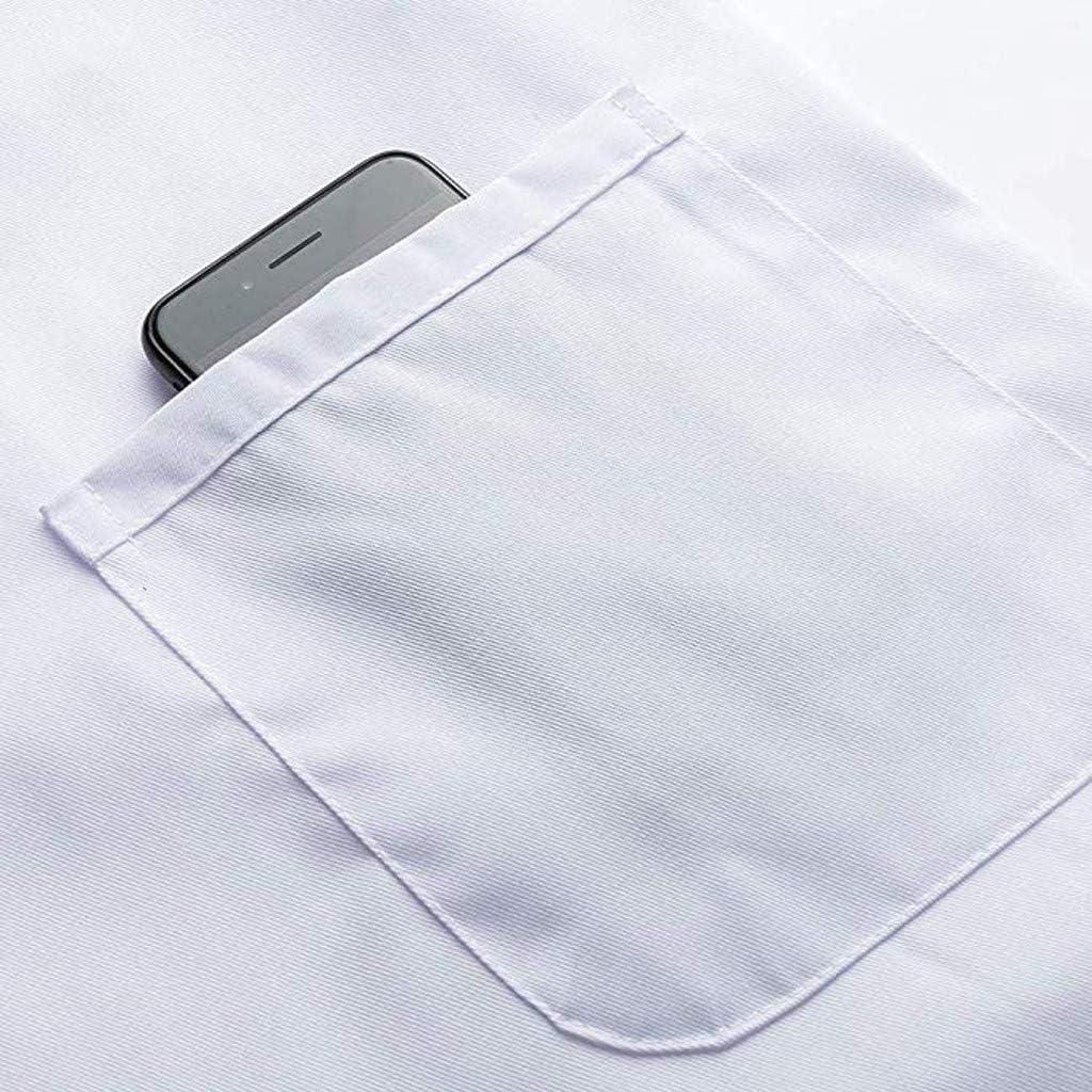 Bottoni a Pressione Honestyi Camici da Laboratorio Giacche e Cappotti Servizio Civile Uniformi sanitarie Giacche Camice Uomo Bianco 100/% Cotone Manica Lunga