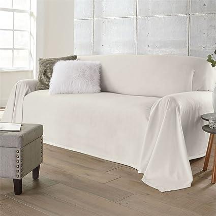 Amazoncom BrylaneHome Dani DropclothStyle Sofa Cover Ivory0