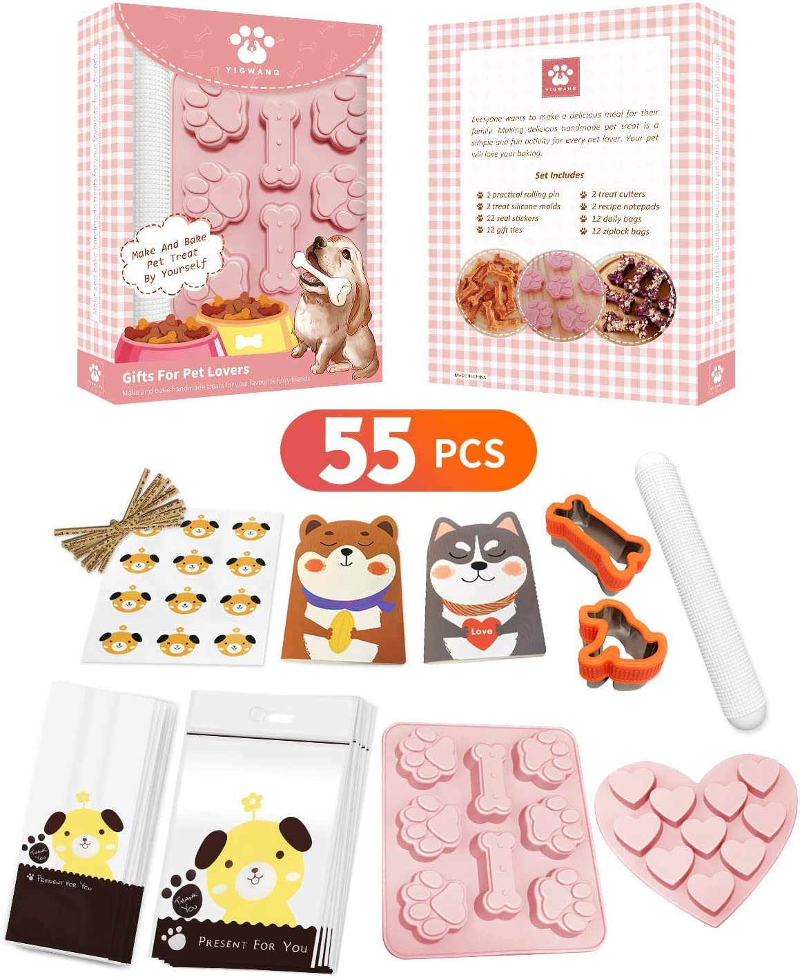 YIGWANG 55 Pcs Dog Lovers Gifts, Make Your Own Dog Treats Kit, Including Dog Bone Cookie Cutter and Silicone Molds, Dog Treat Bags, etc.