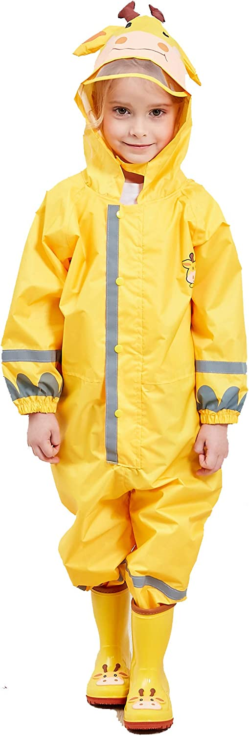 LIVACASA Kids Raincoats Boys Girls with Hooded Transparent Hat Brim Breathable Rainsuit Reflective Stripes Kids Puddle Suits with Pocket Cute Pattern Rain Poncho Waterproof Rainwear