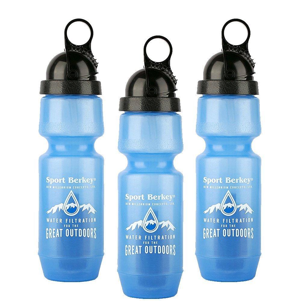 Berkey Gsprt Generic 22-Ounce Water Filter Sports Bottle, 3-Pack
