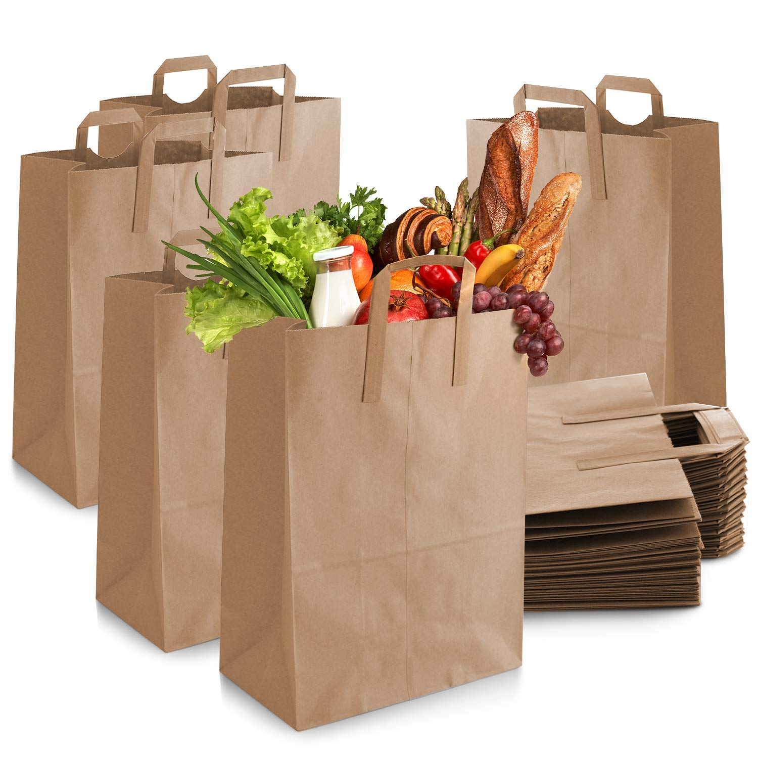 Paper Bags with Handles Bulk [50 Pack] - Brown Paper Grocery Bag - Large Brown Paper Bags with Handles, Durable, Great for Grocery Shopping, Delivery or take Out Orders.12