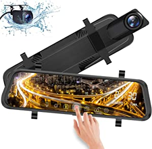 """IXROAD Mirror Dash Cam 10"""" Touch Screen 1080P Car DVR Front and Rear View Dual Lens with Backup Camera, Night Vision, Time Lapse, Parking Monitor, Loop Recording"""