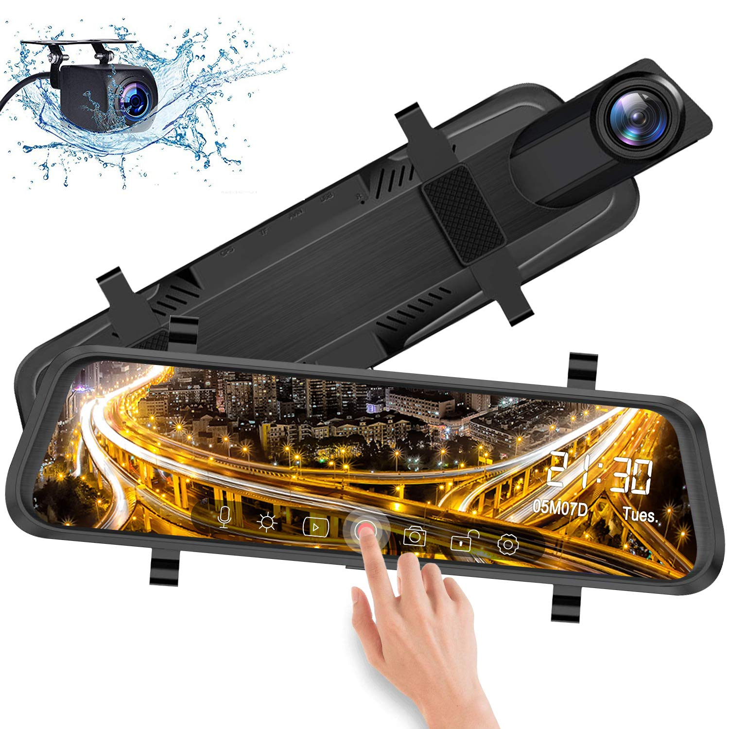 IXROAD Mirror Dash Cam 10'' Touch Screen 1080P Car DVR Front and Rear View Dual Lens with Backup Camera, Night Vision, Time Lapse, Parking Monitor, Loop Recording