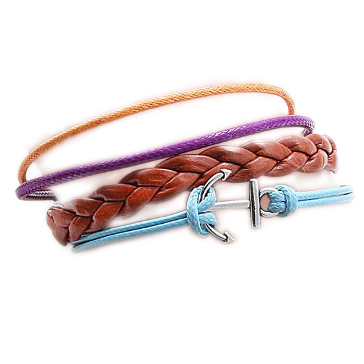 Brown Braided Faux Leather Bracelet with SIlver Tone Metal Anchor Pendant