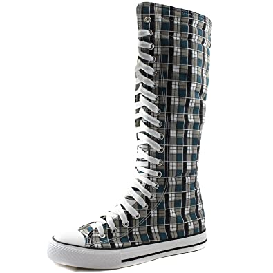 14fd44763acac7 DailyShoes Women s Knee High Punk Sneaker Boots Punk-Hi Plaid