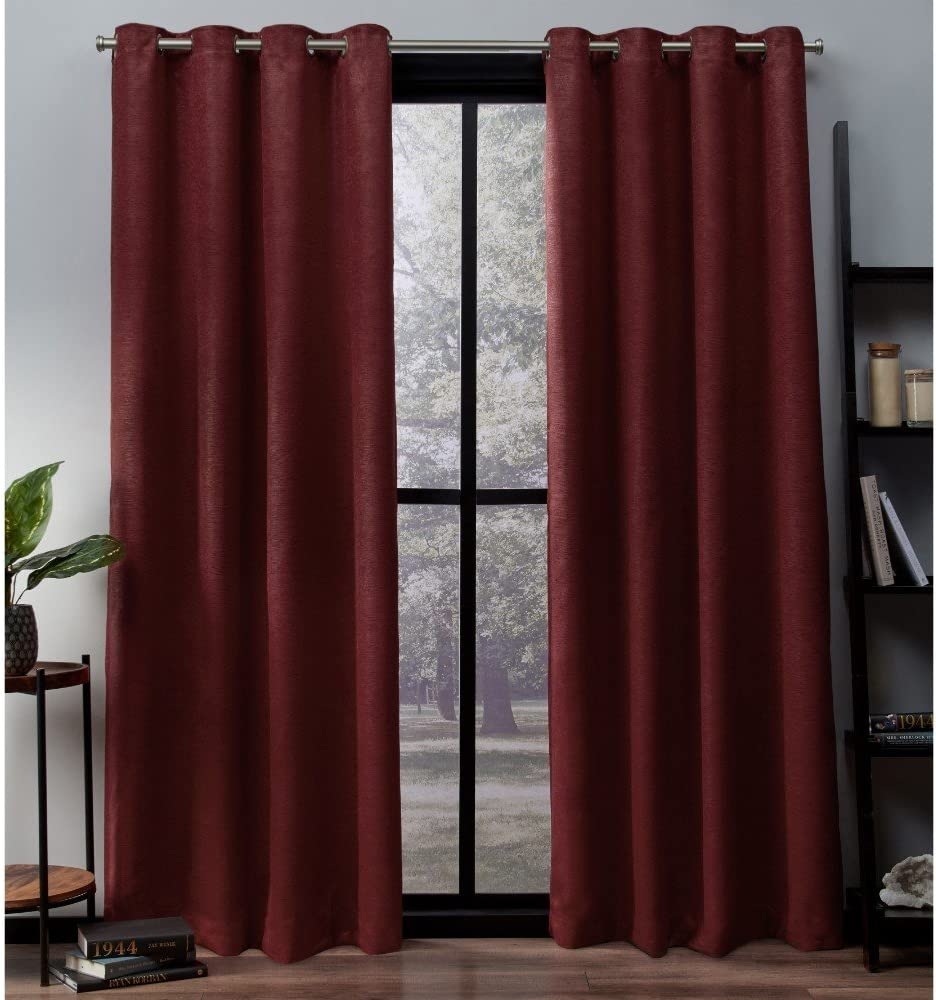 Exclusive Home Curtains Oxford Textured Sateen Thermal Window Curtain Panel Pair with Grommet Top, 52x84, Chili, 2 Count