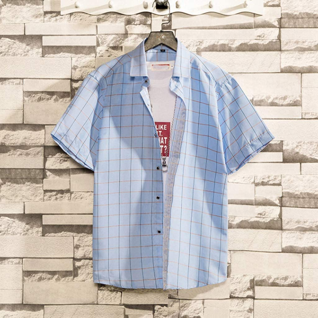 Longay Men Shirts Mens Summer Loose Casual Daily Short Sleeve Shirt Casual Blouse