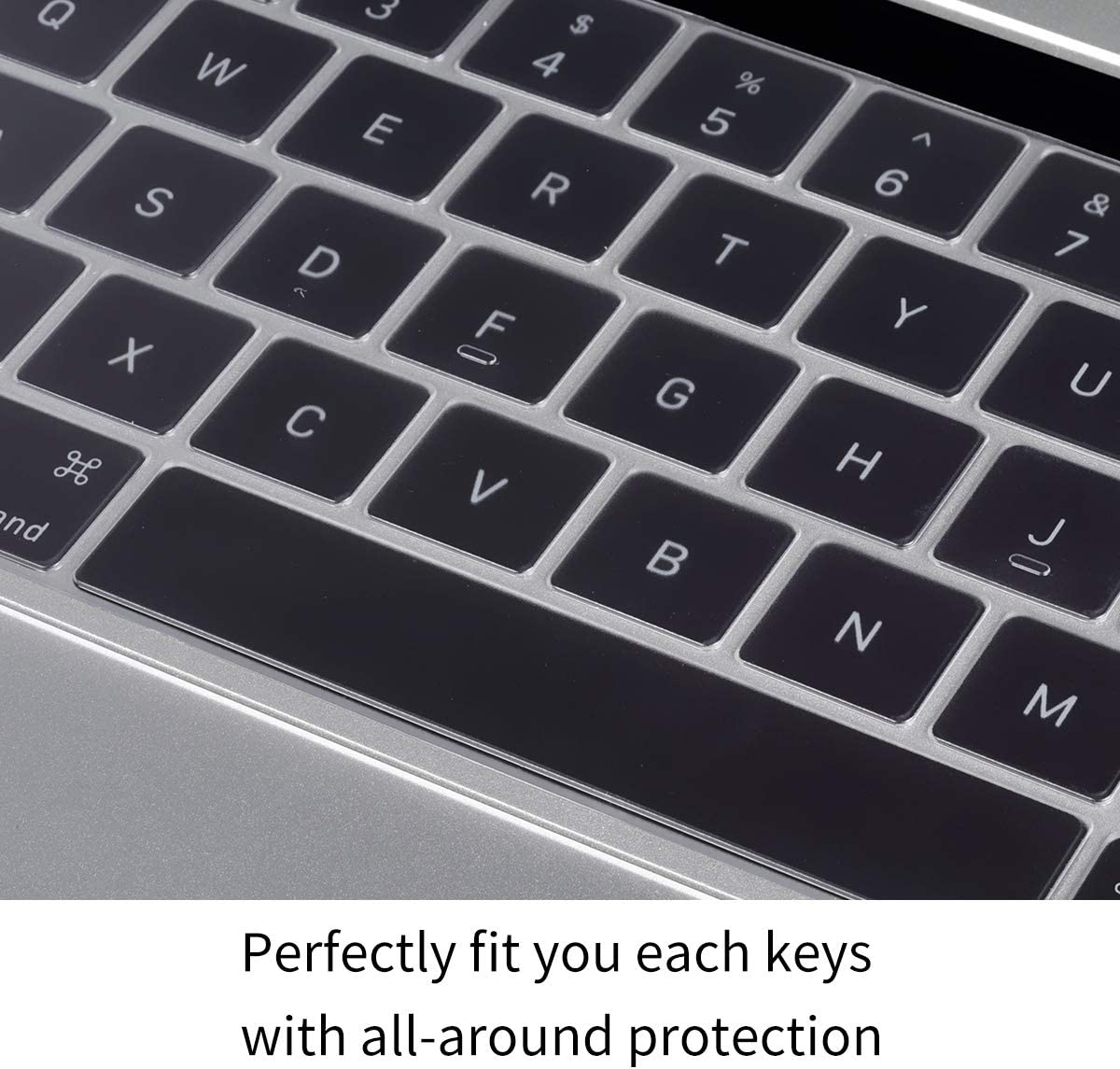 US Keyboard Layout Premium Ultra Thin Keyboard Cover Skin for MacBook Pro with Touch Bar 13 and 15 Apple Model Number A2159 A1706 A1707 A1989 A1990, 2019 2018 2017 2016 Release