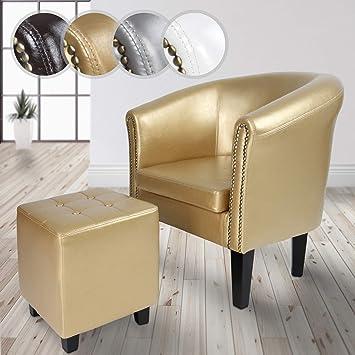 Miadomodo - Sillón Chesterfield elegante con taburete - color dorado