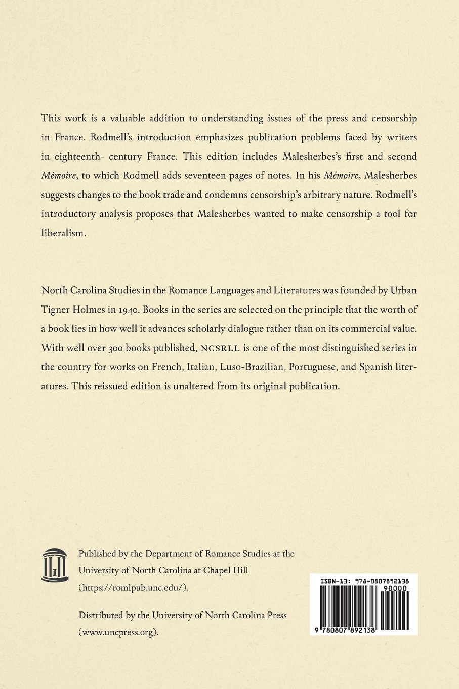 Malesherbes: Mémoires sur la librairie et sur la liberté de la presse (North Carolina Studies in the Romance Languages and Literatures) by Brand: U.N.C., Dept. of Romance Languages : [distributed by University of North Carolina Press]