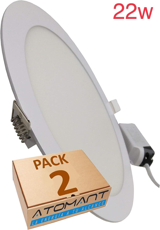 Pack 2x Panel Downlight Led Redondo 22w. Color Blanco Frío (6500K). 2000 Lumenes. A++