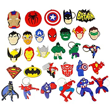 Airgoesin 30pcs Keychain Key Ring Hang Super Hero Christmas Gift Holiday Charms For Kids Birthday Party