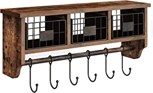 Rolanstar Rustic Wall Mounted Storage Cabinets Coat Rack 6 Hooks Hanging Entryway Shelf, Floating Shelf, Wood Wall Shelves for Storage and Display Multiuse, WS001-A