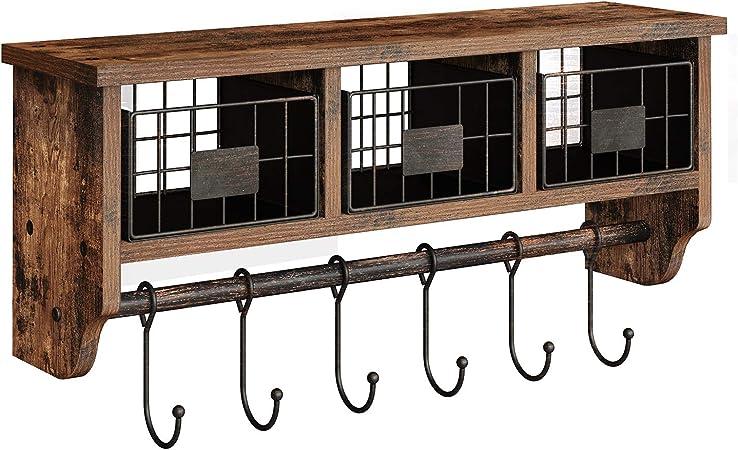 HongTeng Rack Modern Simple Solid Wood Door Hanger Multi-function Display Shelf Storage Rack 5 Hook Wood Clothes hook Bent Pole Coat Rack Oak Primary color