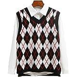 SLLSKY Argyle Fashion Knitted Vest Women Casual Korean Pullover Elasticity Sweater Spring Autumn Sleeveless V-Neck Tank…