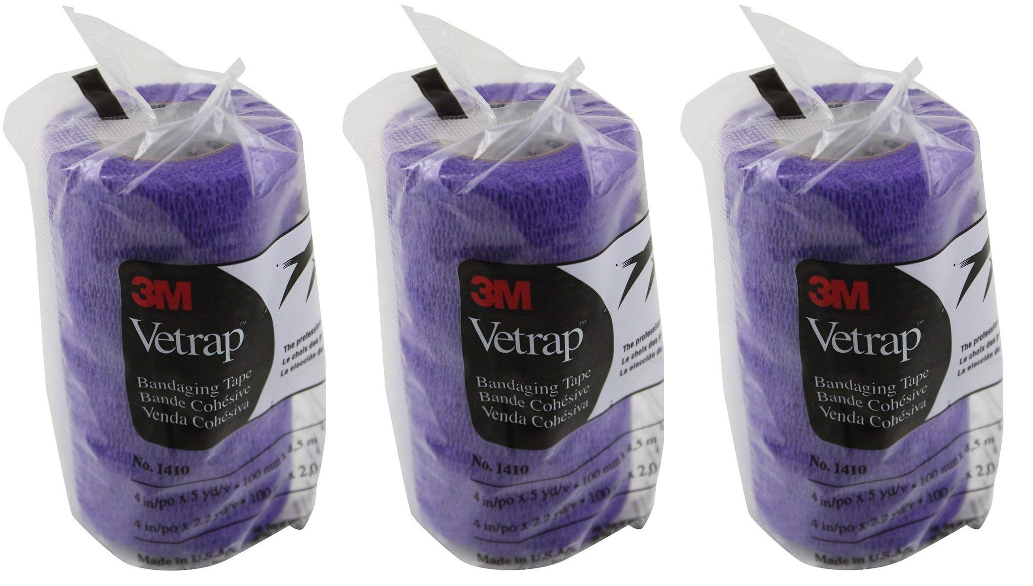 3M Vetrap 4'' Bold Color High Performance Animal Bandaging Tape, 4'' x 5 Yards - Purple (Pack of 3) by 3M