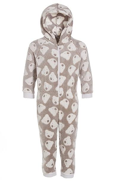 Camille - Pijama infantil de una pieza con capucha - Forro polar supersuave - Estampado de ositos - Color visón: Amazon.es: Ropa y accesorios