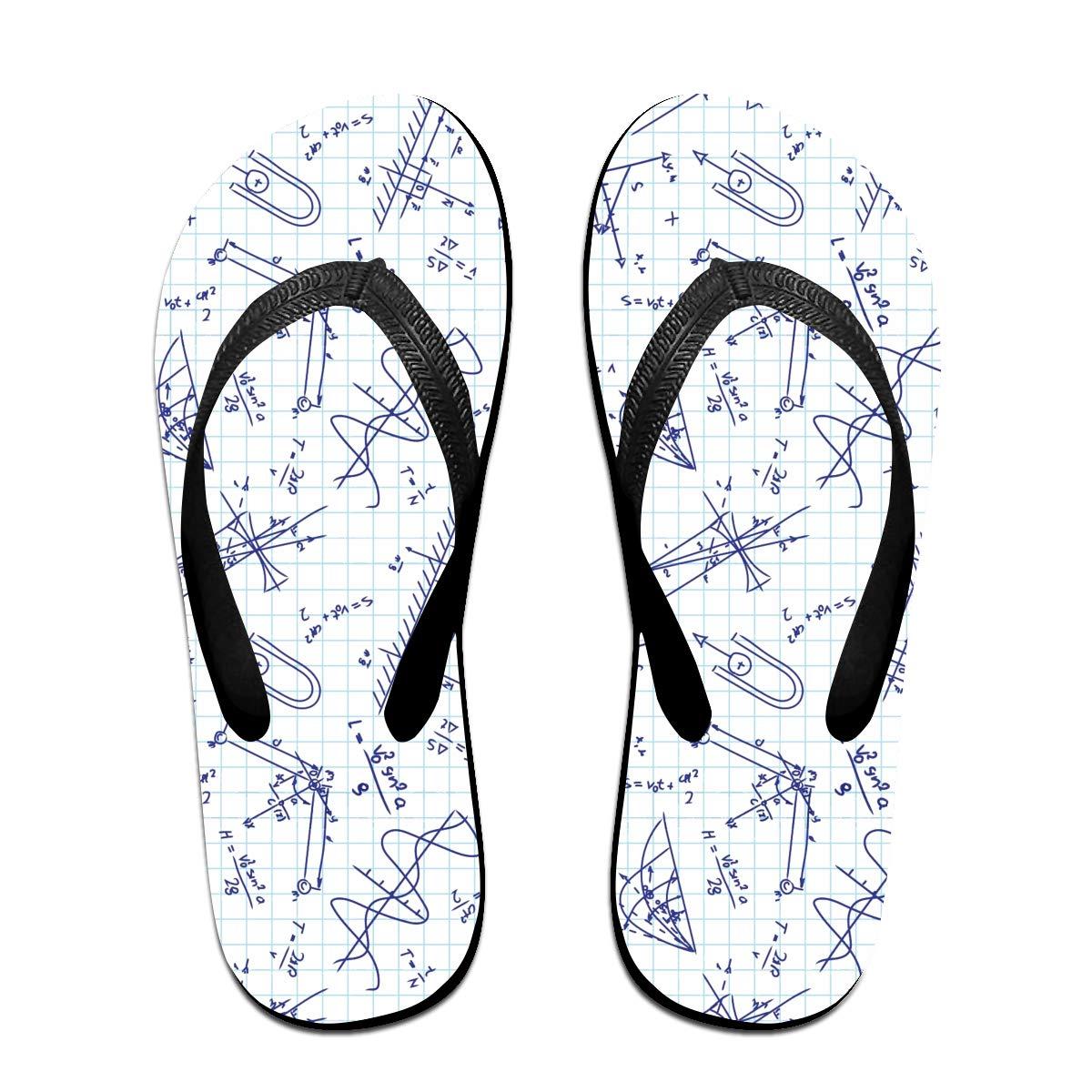 Couple Slipper Physics Typography Print Flip Flops Unisex Chic Sandals Rubber Non-Slip Beach Thong Slippers