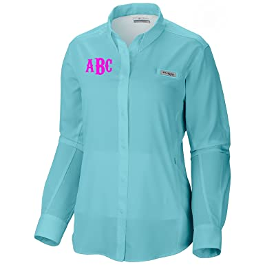b381c96a Monogrammed Columbia Women's PFG Tamiami II Long Sleeve Shirt at Amazon Women's  Clothing store: