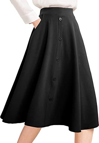 Afibi Mujer Alto Waisted Una Línea Falda Midi Plisada Faldas ...