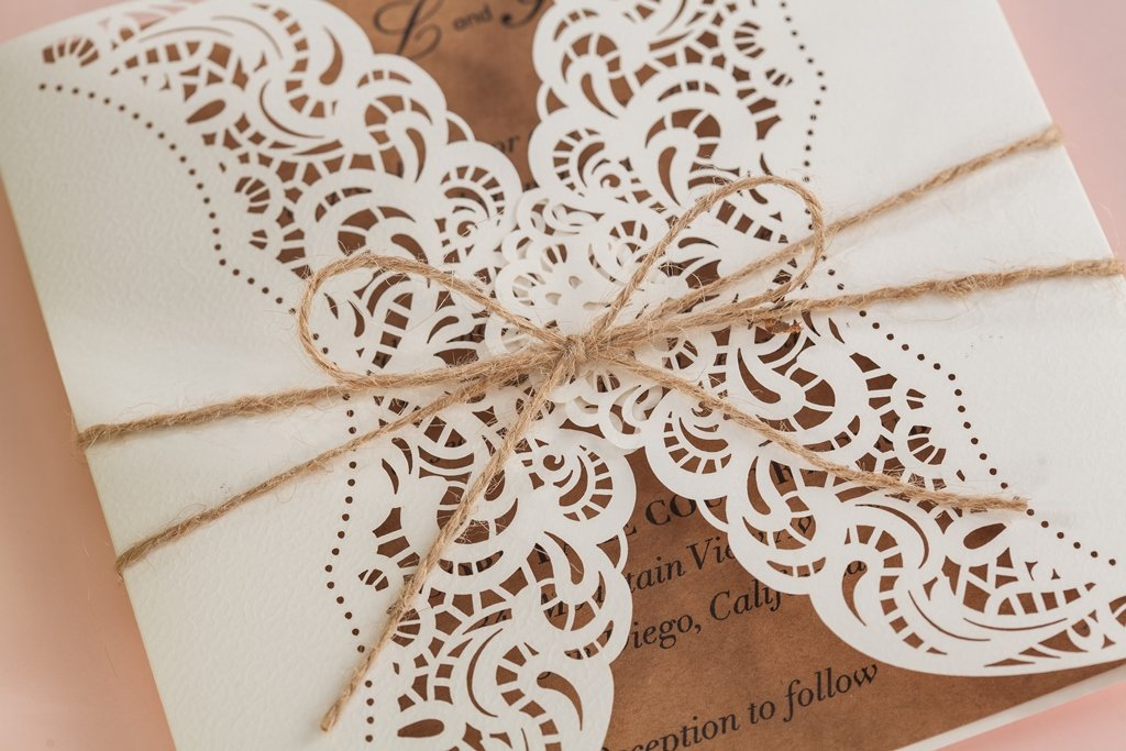 Wishmade 100x Laser Cut Invitations Cards Kit With Rustic Rope For Wedding Party Birthday Occasion AW7512 by Wishmade (Image #6)