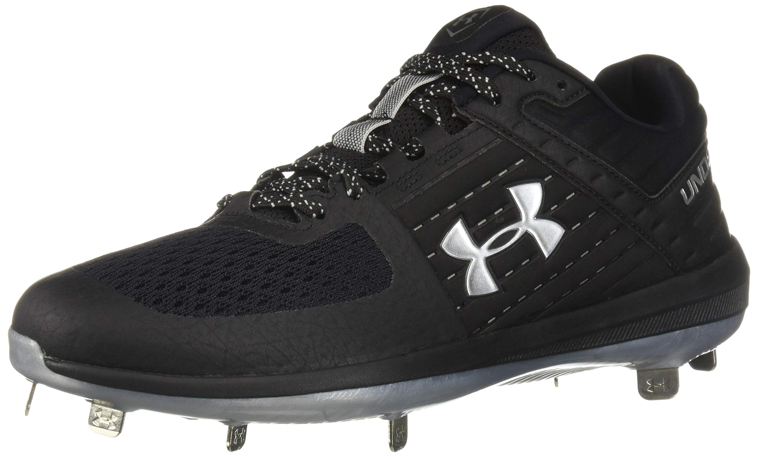 Under Armour Men's Yard Low ST Baseball Shoe, Black (002)/Metallic Silver, 14 by Under Armour