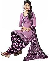 Ishin Synthetic Purple Printed Party Wear Wedding Wear Casual Daily wear Festive Wear Bollwood Latest Design Trendy Unstitched Salwar Suit Dress Material (Anarkali/Patiyala) With Dupatta
