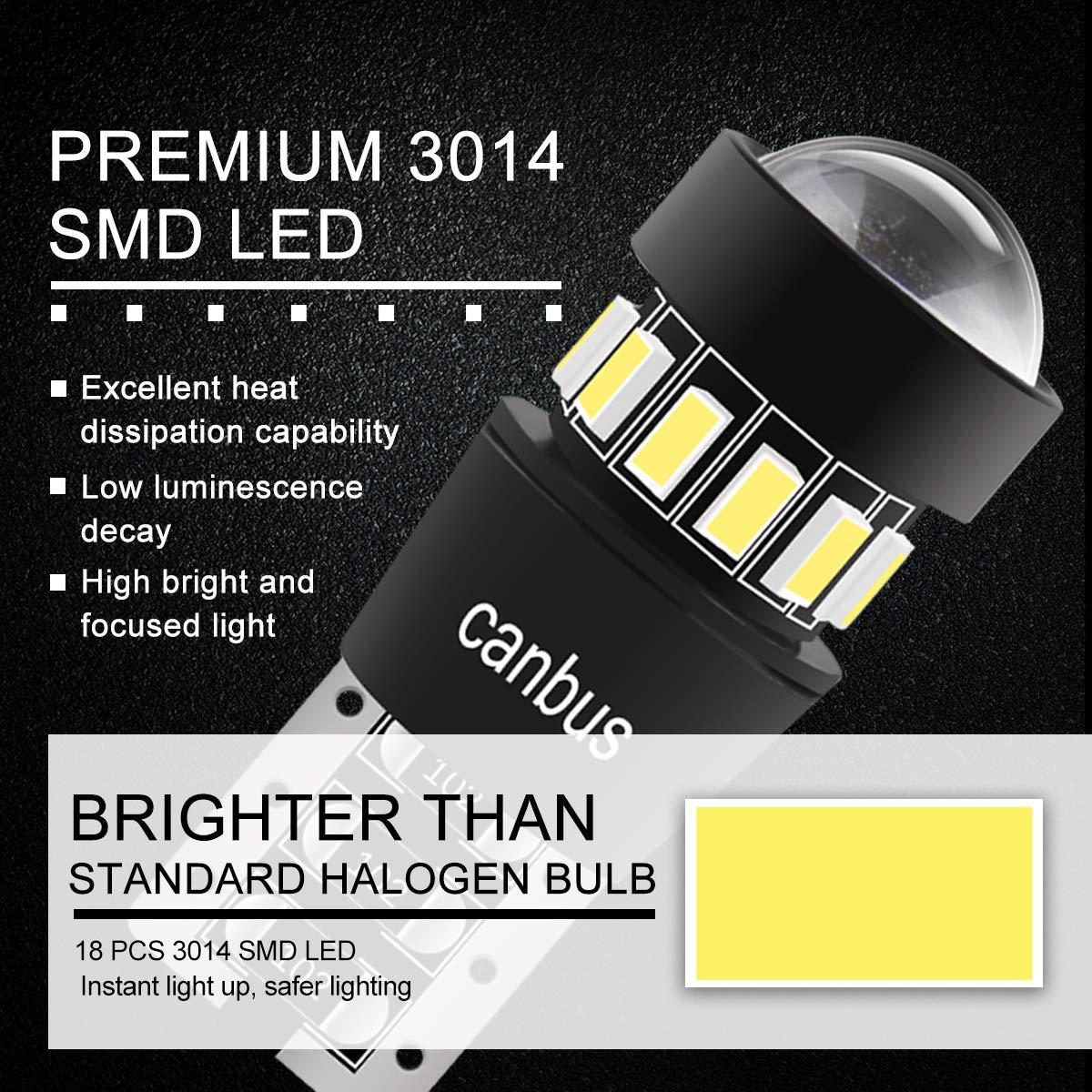 T10 W5W Bombillas LED con Canbus, Lámparas de Matrícula, Luces de ...