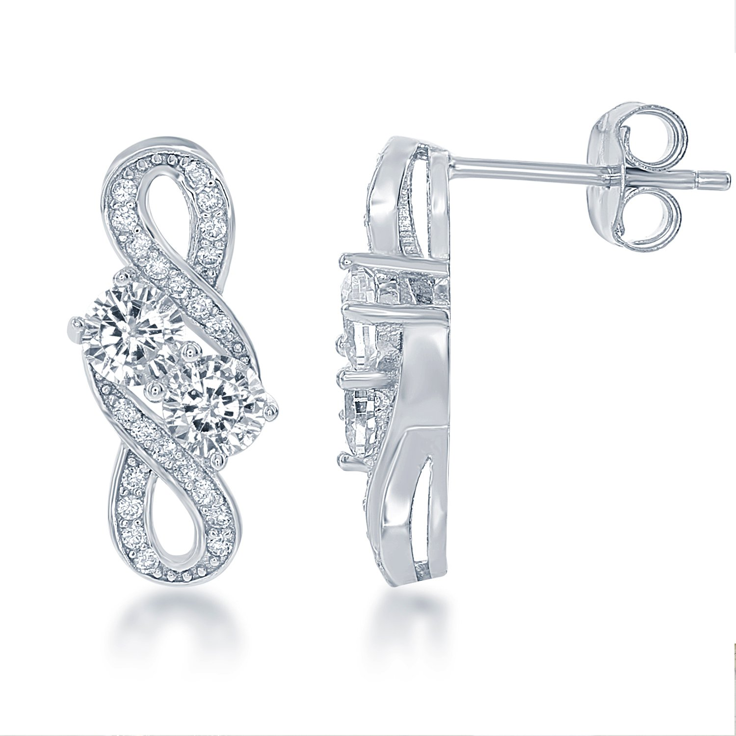 Sterling Silver Two-Stone Forever CZ Stud Earrings