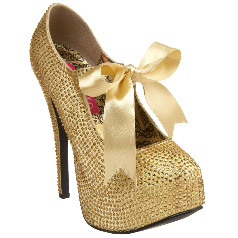 Best-choise Women's Mary Jane 5 3/4'' Stiletto Heel Rhinestone W/Ribbon Bow Tie Perfect Gift (Color : Gold Rhinestones, Size : 8)