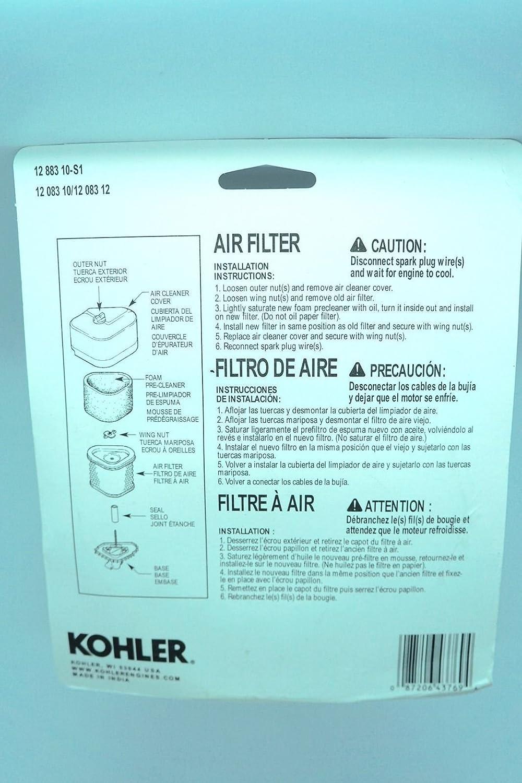 Amazon.com : Genuine OEM Kohler 12-883-10-S1 air filter combo kit includes 12 083 10-S & 12 083 12-S fits Kohler Command Pro engines : Garden & Outdoor