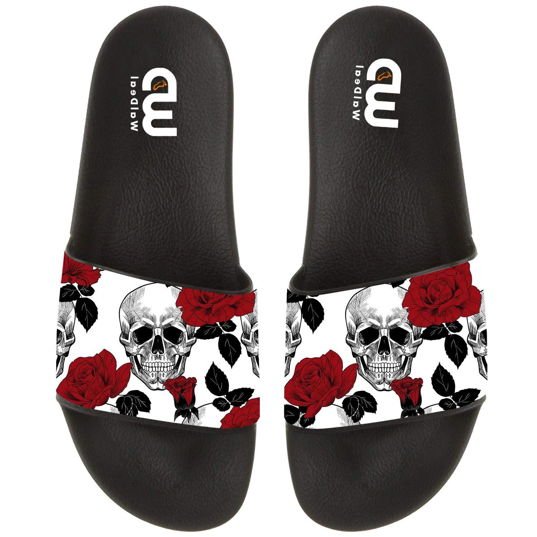 Funny Skull With Rose Print Summer Slide Slippers For Men Women Kid Indoor Open-Toe Sandal Shoes