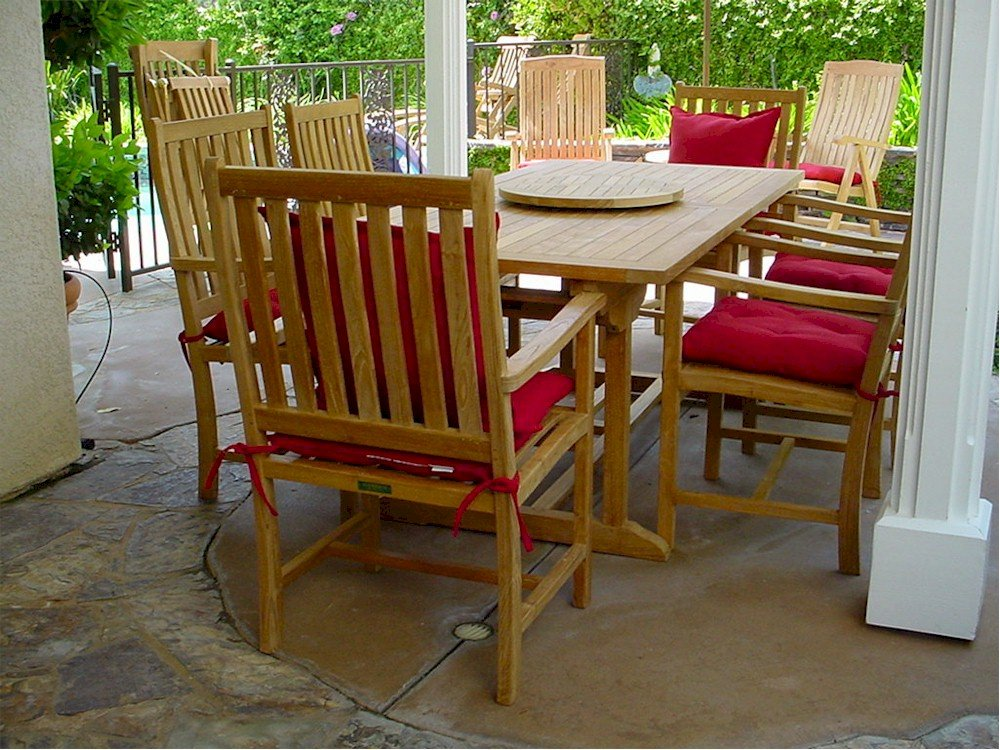 Anderson Teak Set-112B - Dupione Paradise Rectangular Extension Table & Wilshire Armchair Set, 8', Dupione Paradise