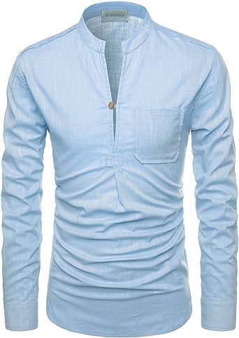 NEARKIN - Camisa Henley de manga larga enrollable, ajustada, de lino y cuello mao para hombre - Azul - XXX-Large: Amazon.es: Ropa y accesorios