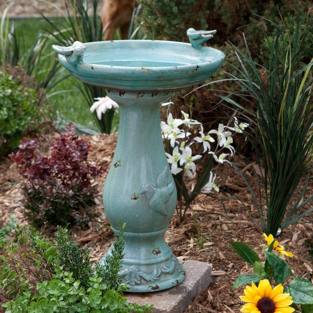 Antique Light Turquoise Ceramic Bird Bath with 2 Birds by King Fountain