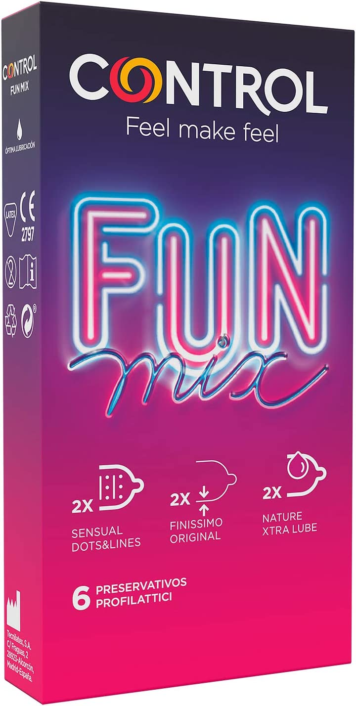 Control Preservativos Sensual Fun Mix - Caja de condones variados, lubricados, perfecta adaptabilidad, sexo seguro, 6 unidades