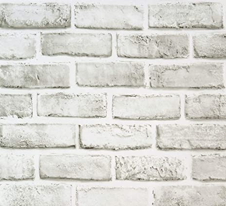 17 71 X118 White Grey Brick Wallpaper Self Adhesive Wallpaper Removable Peel And Stick Wallpaper Decorative Paper Brick Wallpaper Shelf Paper Christmas Fireplace Decoration Home Kitchen