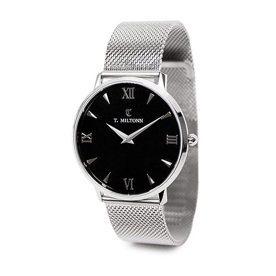 Reloj mujer extra-plate acero pulsera malla Milanaise acero