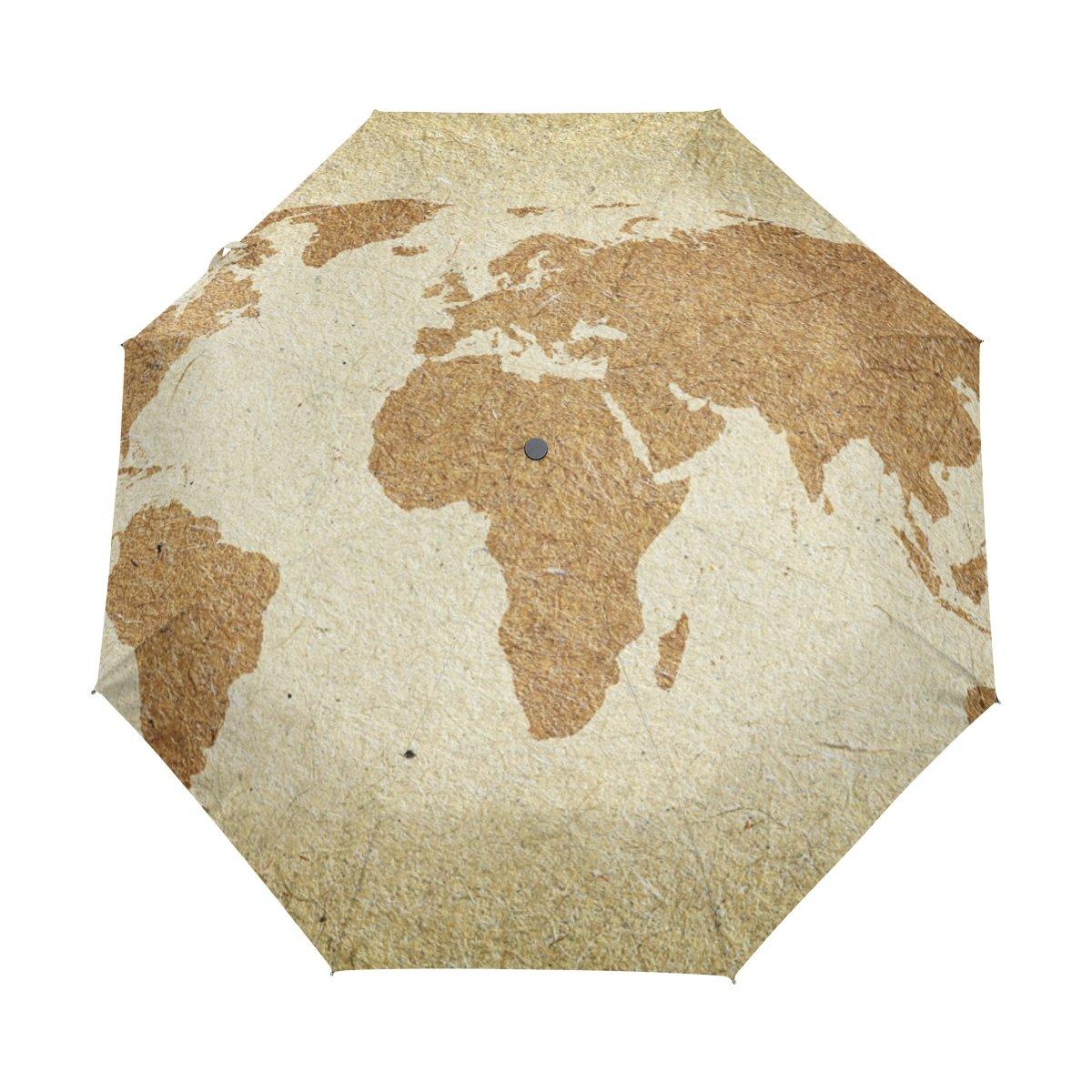 deyyaヴィンテージワールドマップカスタム折りたたみ式太陽雨傘Wind Resistant防風折りたたみトラベル傘 B0757NG2Y6